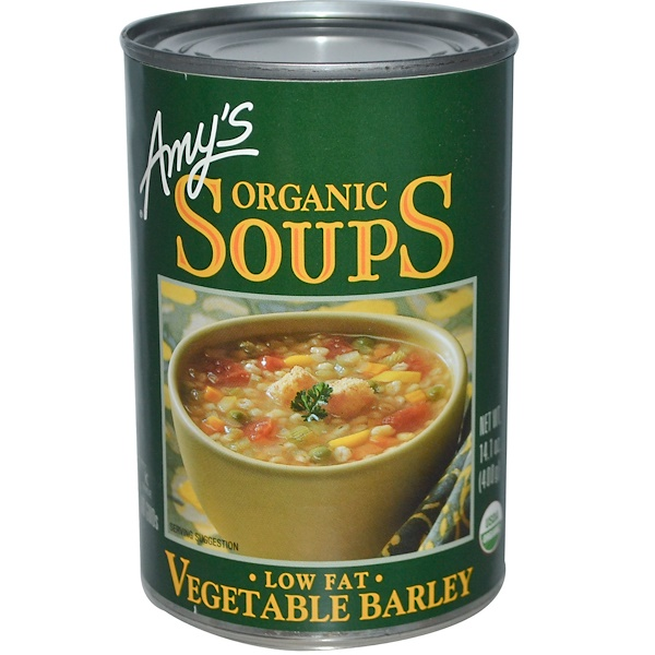 Amy's, Organic Soups, Vegetable Barley, Low Fat, 14.1 oz (400 g) (Discontinued Item)