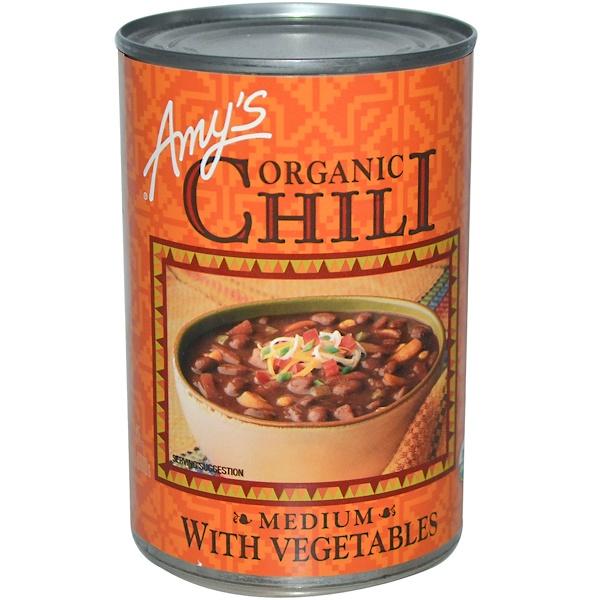 Amy's, 유기농 칠리, 채소가 들은 중간 맵기, 14.7 oz (416 g)