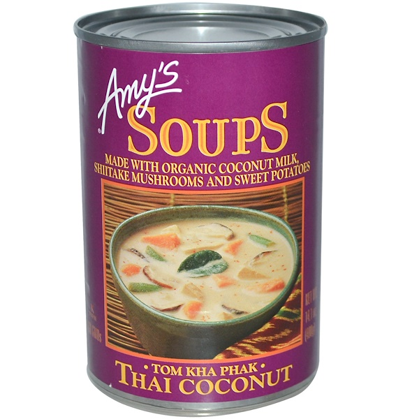 Amy's, Soupes bio, Tom Kha Phak, noix de coco thaïe, 14.1 oz (400 g) (Discontinued Item)