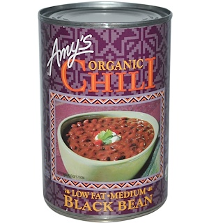 Amy's, Organic Chili, Black Bean, Low Fat, Medium, 14.7 oz (416 g)