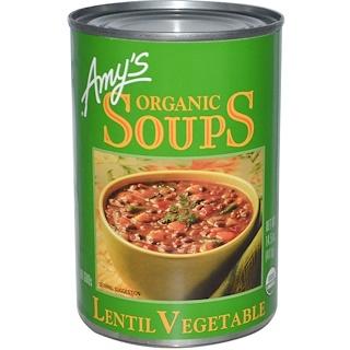 Amy's, オーガニックスープ, レンズ・ベジタブル, 14.5 oz (411 g)