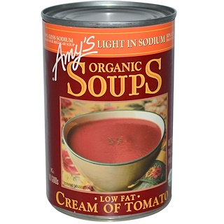 Amy's, Organic Soups, Low Fat Cream of Tomato, Light in Sodium, 14.5 oz (411 g)