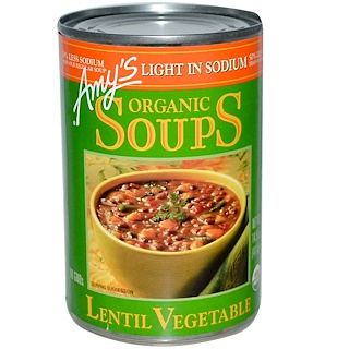 Amy's, Organic Soups, Lentil Vegetable, Light in Sodium, 14.5 oz (411 g)