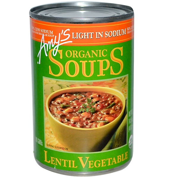 Amy's, Organic Soups, Lentil Vegetable, Light in Sodium, 14.5 oz (411 g) (Discontinued Item)