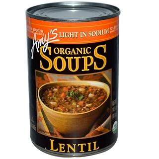 Amy's, オーガニック スープ、 レンズ豆、 減塩、 14.5 oz (411 g)