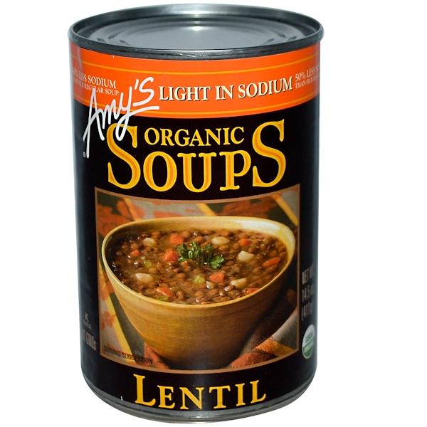 Amy's, Органические супы, чечевица, низкое содержание натрия, 14,5 унции (411 г)