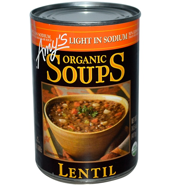 Amy's, オーガニック スープ、 レンズ豆、 減塩、 14.5 oz (411 g) (Discontinued Item)