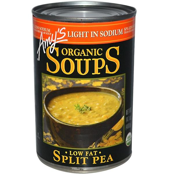 Amy's, 有機湯,豌豆,低脂肪,低鈉,14、1盎司(400克)