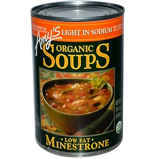 Amy's, Sopas orgánicas, Minestrone bajo en grasas, Baja en sodio, 14.1 oz (400 g)