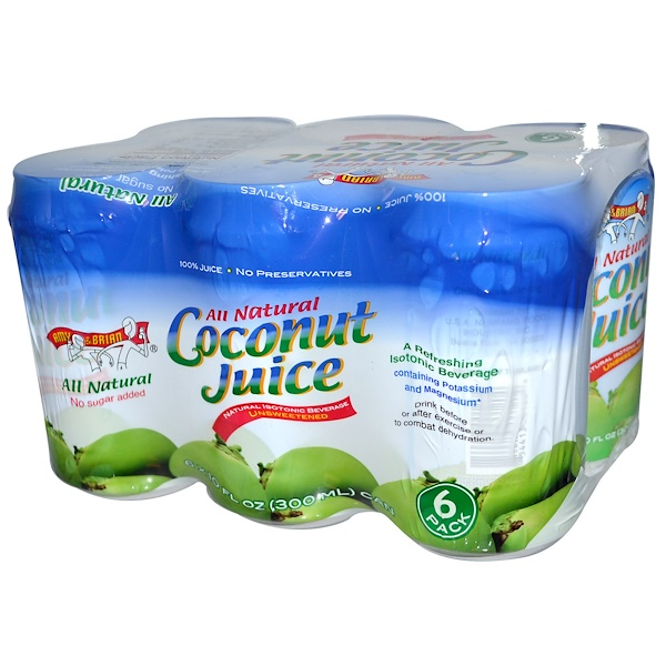 Amy & Brian, Coconut Juice, Unsweetened, 6 Pack, 10 fl oz (300 ml) Each (Discontinued Item)