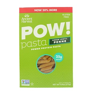 Ancient Harvest, Pow! Pasta, Green Lentil Penne, 9.6 oz (272 g)