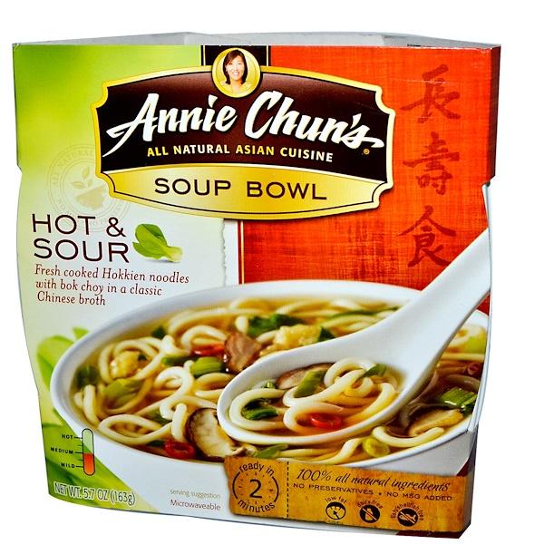 Annie Chun's, Тарелка супа, острый и кислый, средняя, 5,7 унции (163 г) (Discontinued Item)