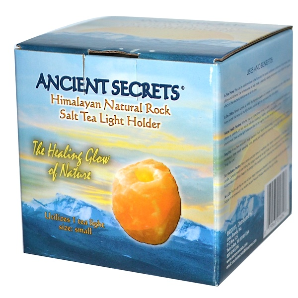 Ancient Secrets, Himalayan Natural Rock, Salt Tea Light Holder, Small, Utilizes 1 Tea Light (Discontinued Item)