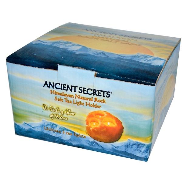 Ancient Secrets, Himalayan Natural Rock Salt Tea Light Holder, Utilizes 3 Tea Lights (Discontinued Item)