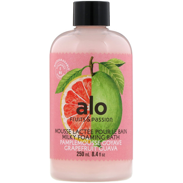 Fruits & Passion, ALO, Milky Foaming Bath, Grapefruit Guava, 8.4 fl oz (250 ml)