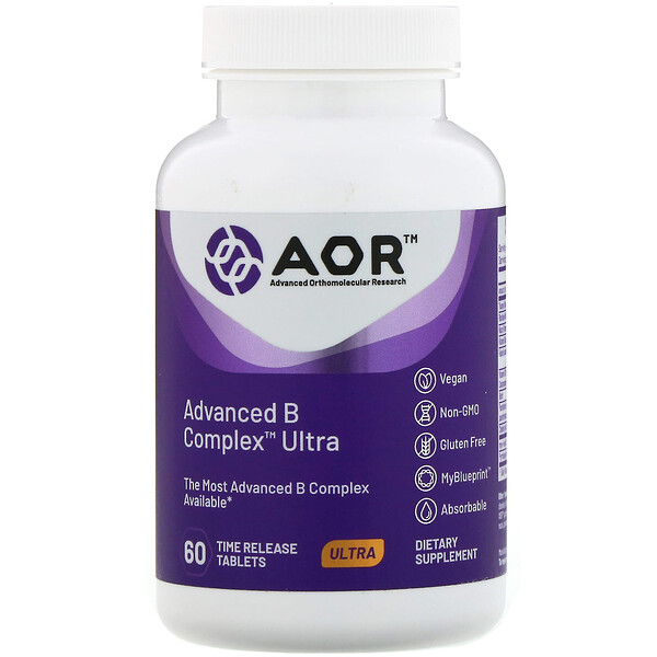 Advanced Orthomolecular Research AOR, Advanced B Complex Ultra، 60 قرصًا بإطلاق موقوت