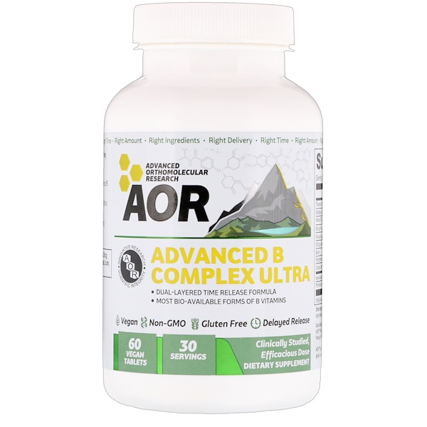 Advanced Orthomolecular Research AOR, Complexo B Avançado Ultra, 60 Comprimidos Veganos