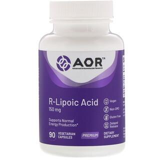 Advanced Orthomolecular Research AOR, R-리포산, 150mg, 식물성 캡슐 90개