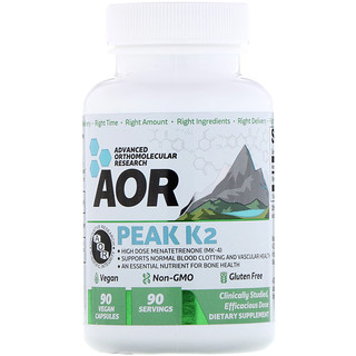 Advanced Orthomolecular Research AOR, ピークK2、ビーガンカプセル90粒