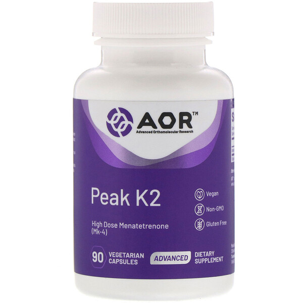Advanced Orthomolecular Research AOR, Peak K2, 90 Cápsulas Vegetais