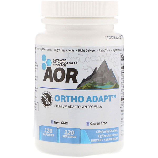 Advanced Orthomolecular Research AOR, Ortho · Adapt, Premium Adaptogen Formula, 120 Capsules