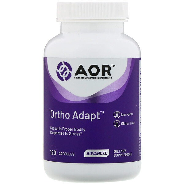 Advanced Orthomolecular Research AOR, كبسولات Ortho Adapt، عدد 120 كبسولة