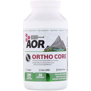Advanced Orthomolecular Research AOR, Ortho Core, 180 Vegan Capsules