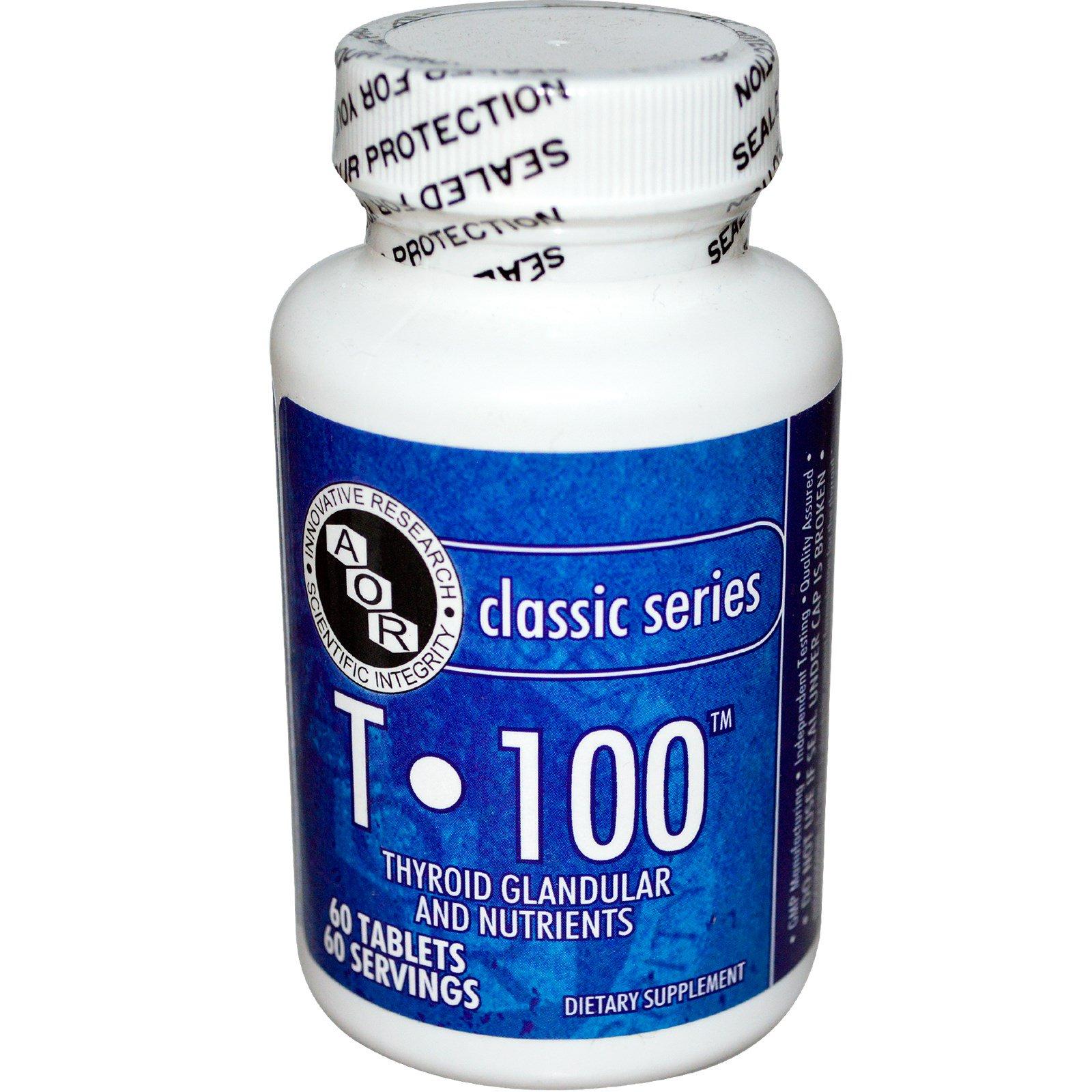 Advanced Orthomolecular Research AOR, T • 100, добавка для щитовидной железы с питательными элементами, 60 таблеток