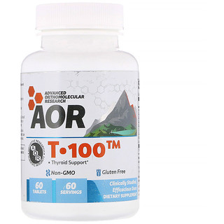 Advanced Orthomolecular Research AOR, T-100, Thyroid Support, 60 Tablets