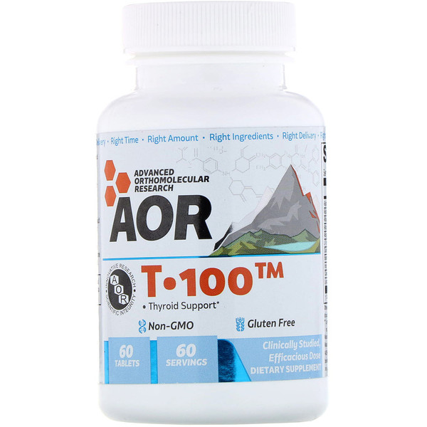 Advanced Orthomolecular Research AOR, T-100, Tyroid Support, 60 Tablets