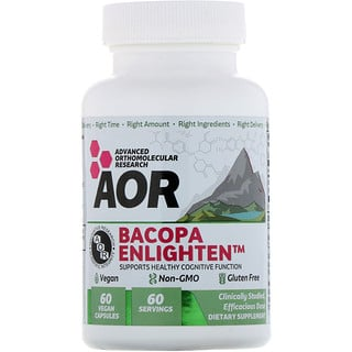 Advanced Orthomolecular Research AOR, Bacopa Enlighten, 60 веганских капсул