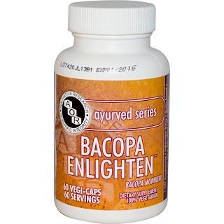 Advanced Orthomolecular Research AOR, Ayurved Series, Bacopa Enlighten, 60 Veggie Caps