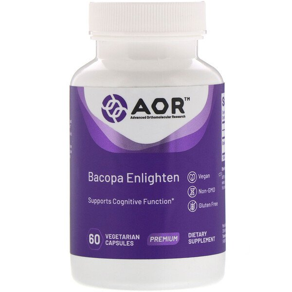 Advanced Orthomolecular Research AOR, Bacopa Enlighten، 60 كبسولة نباتية