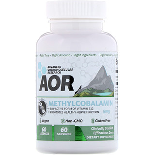 Advanced Orthomolecular Research AOR, Methylcobalamin, 5 mg, 60 Lozenges