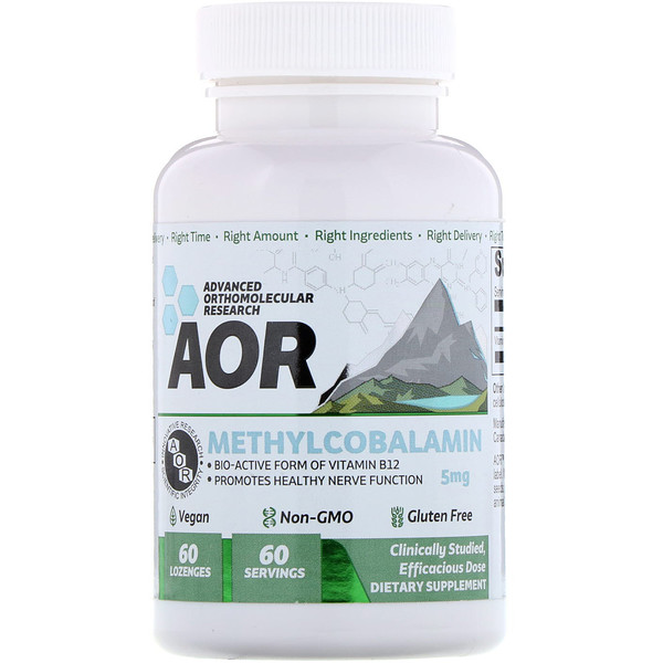 Advanced Orthomolecular Research AOR, Methylcobalamin, 5 mg , 60 Lozenges