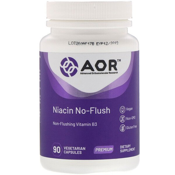 Advanced Orthomolecular Research AOR, Niacin No-Flush, 90 כמוסות צמחוניות