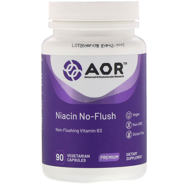 Advanced Orthomolecular Research AOR, Niacin No-Flush, 90 Vegetarian Capsules