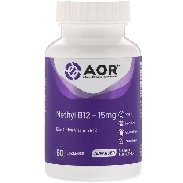 Advanced Orthomolecular Research AOR, Methyl B12, 15 mg, 60 pastilles (Discontinued Item)