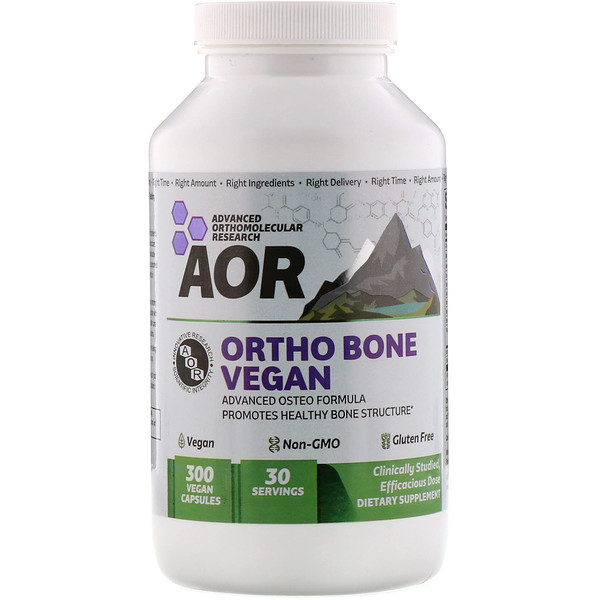 Advanced Orthomolecular Research AOR, Ortho Bone 비건, 300 식물성 캡슐