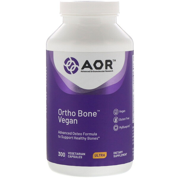 Advanced Orthomolecular Research AOR, مكمل غذائي Ortho Bone Vegan، 300 كبسولة نباتية (Discontinued Item)