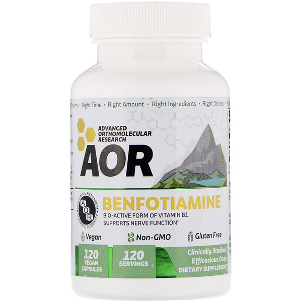 Advanced Orthomolecular Research AOR, Benfotiamine, 120 capsules véganes