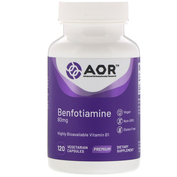 Advanced Orthomolecular Research AOR, Benfotiamina, 120 cápsulas veganas (Discontinued Item)