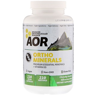 Advanced Orthomolecular Research AOR, Ortho Minerals, 210 Vegan Capsules