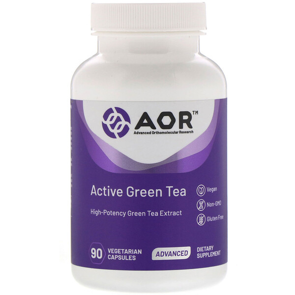 Advanced Orthomolecular Research AOR, Té verde activo, 90 cápsulas vegetales