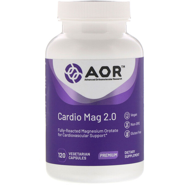 Advanced Orthomolecular Research AOR, Cardio Mag 2.0, 120 растительных капсул