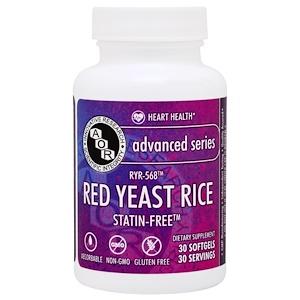 Advanced Orthomolecular Research AOR, Продвинутая серия, красный ферментированный рис, 30 желатиновых капсул купить на iHerb