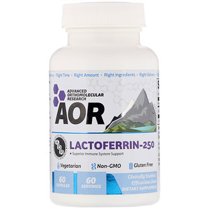 Advanced Orthomolecular Research AOR, Lactoferrin-250, 60 Capsules'