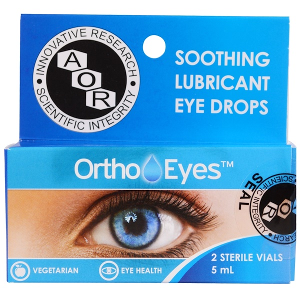Advanced Orthomolecular Research AOR, Soothing Lubricant Eye Drops, 2 Sterile Vials, 5 ml (Discontinued Item)