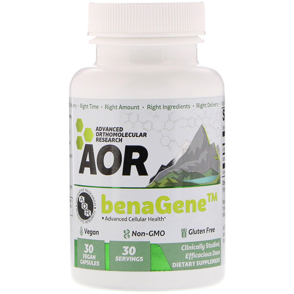 Advanced Orthomolecular Research AOR, Advanced Cellular Health, BenaGene, 30 Vegan Capsules