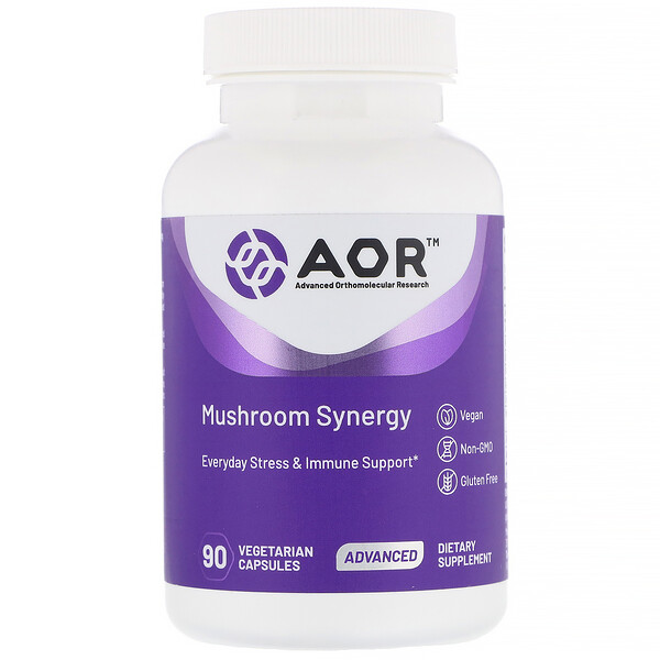 Advanced Orthomolecular Research AOR, كبسولات mushroom synergy النباتية، 90 كبسولة (Discontinued Item)